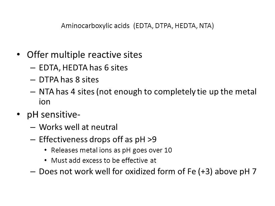 Aminocarboxylic acids (EDTA, DTPA, HEDTA, NTA)