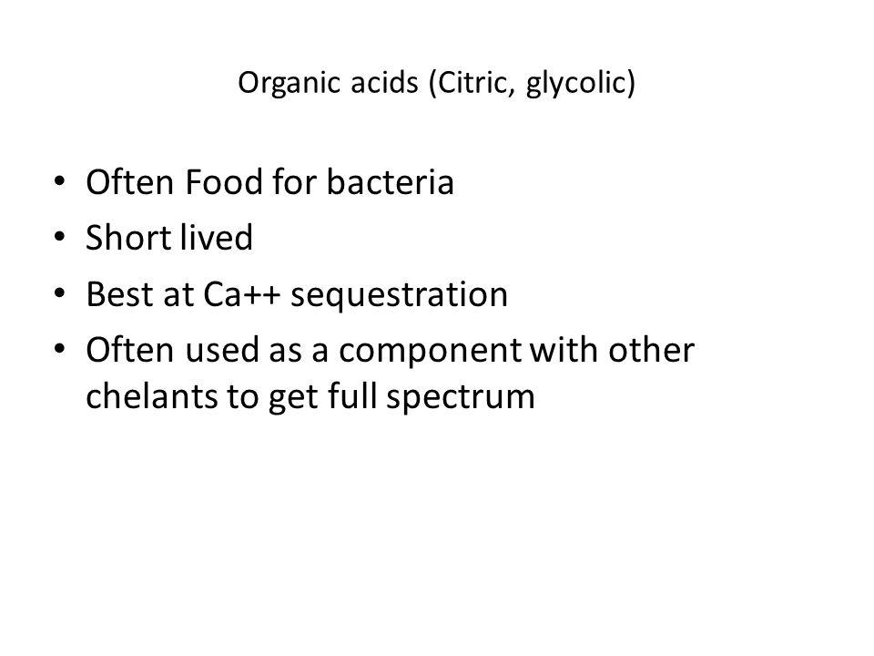 Organic acids (Citric, glycolic)