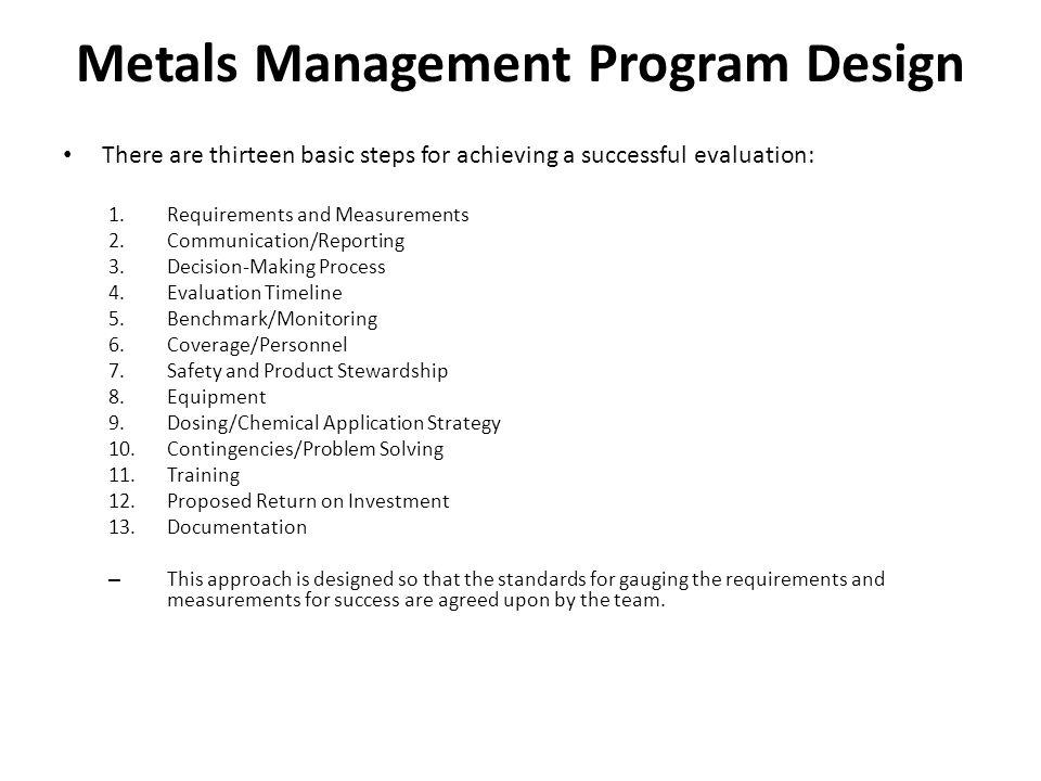 Metals Management Program Design