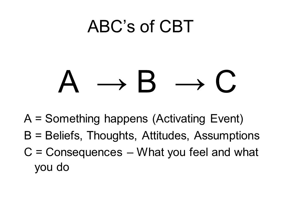 A → B → C ABC's of CBT A = Something happens (Activating Event)