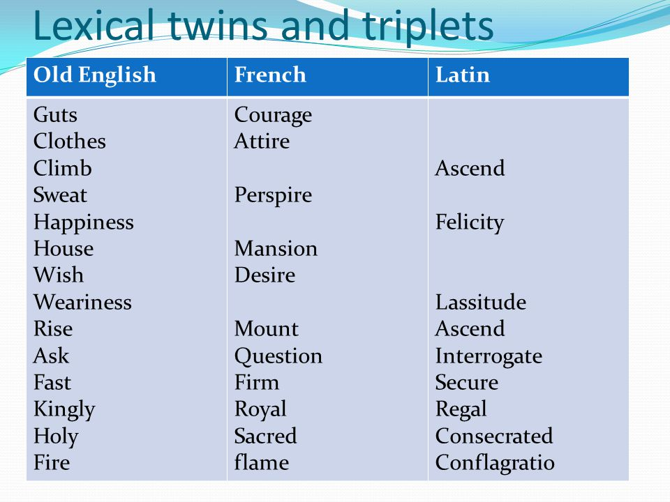 Lexical twins and triplets