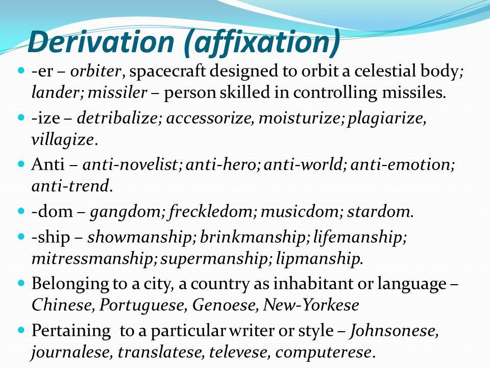Derivation (affixation)