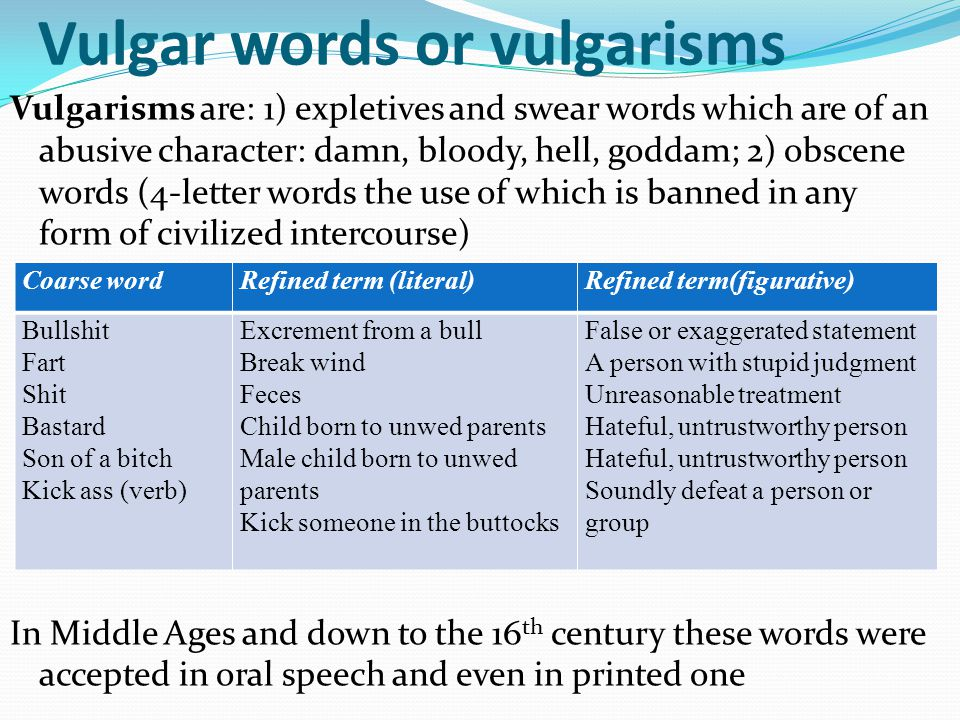 Vulgar words or vulgarisms