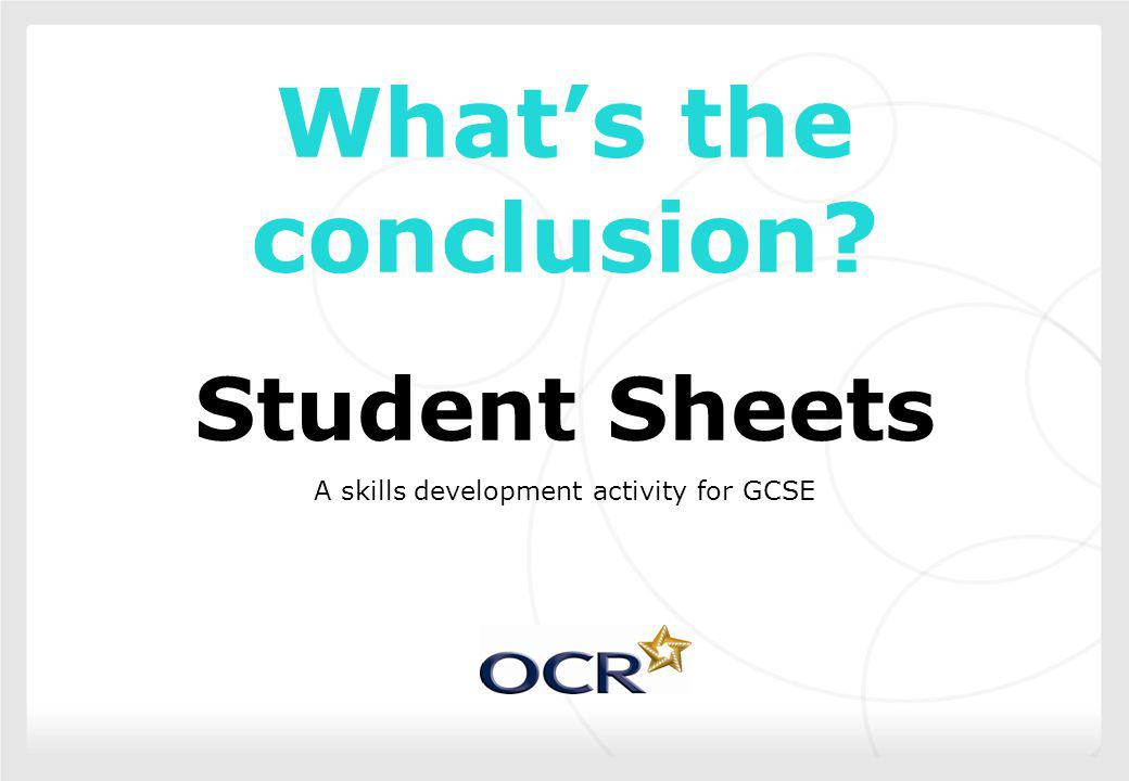 A skills development activity for GCSE