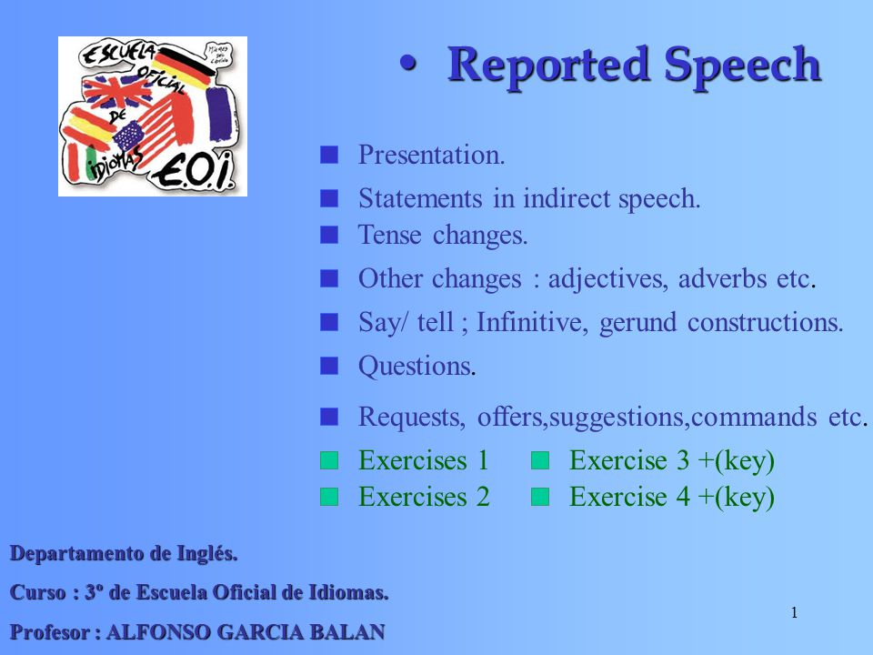 Reported Speech Presentation. Statements in indirect speech.