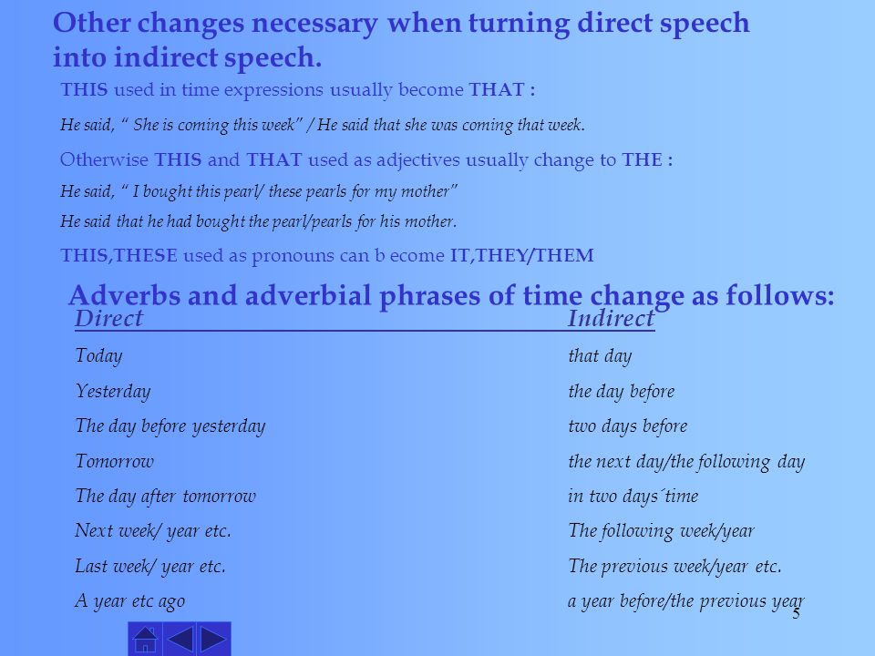Adverbs and adverbial phrases of time change as follows: