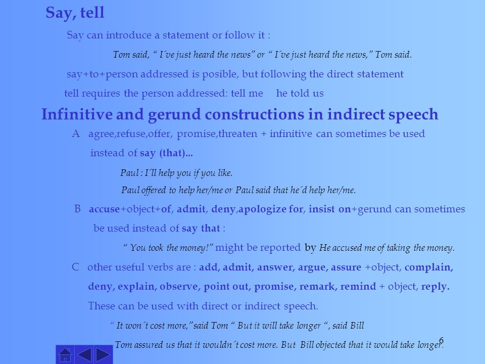 Infinitive and gerund constructions in indirect speech