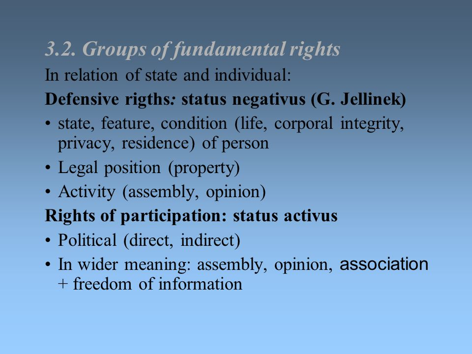 3.2. Groups of fundamental rights