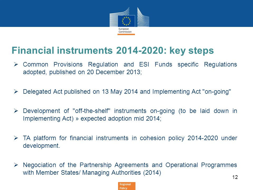 Financial instruments 2014-2020: key steps
