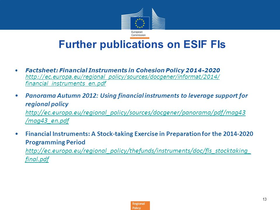 Further publications on ESIF FIs