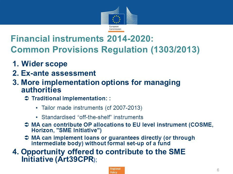 Financial instruments 2014-2020: Common Provisions Regulation (1303/2013)