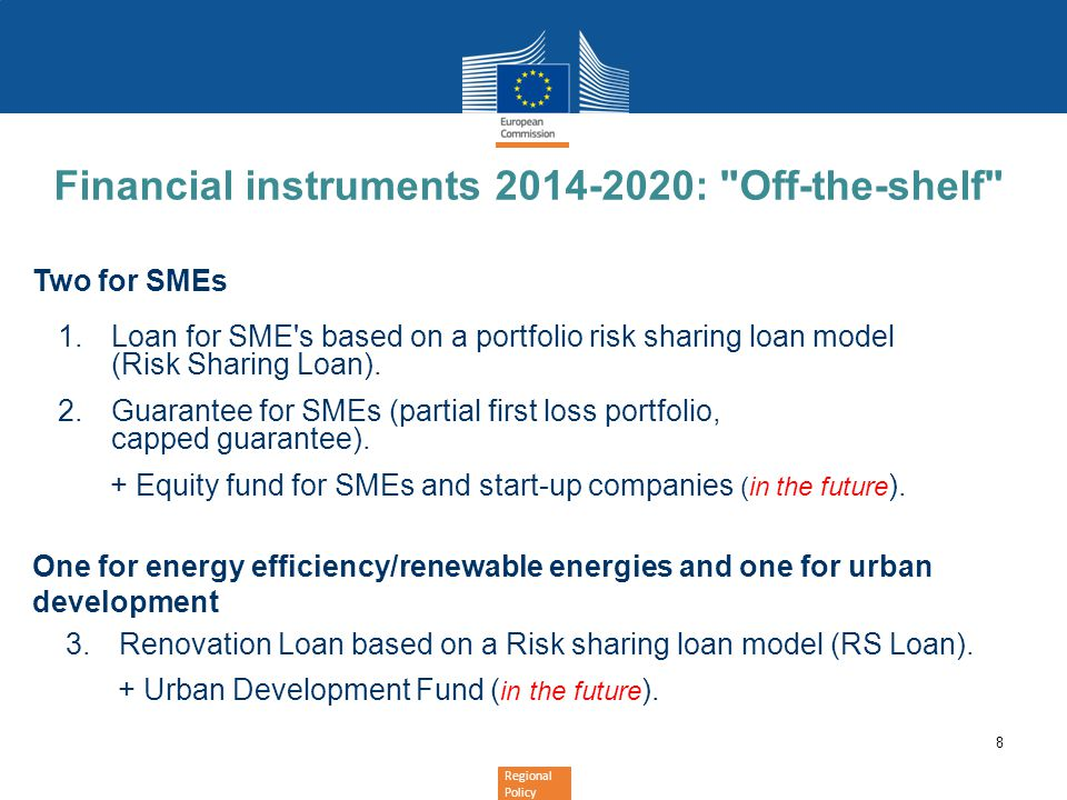 Financial instruments 2014-2020: Off-the-shelf