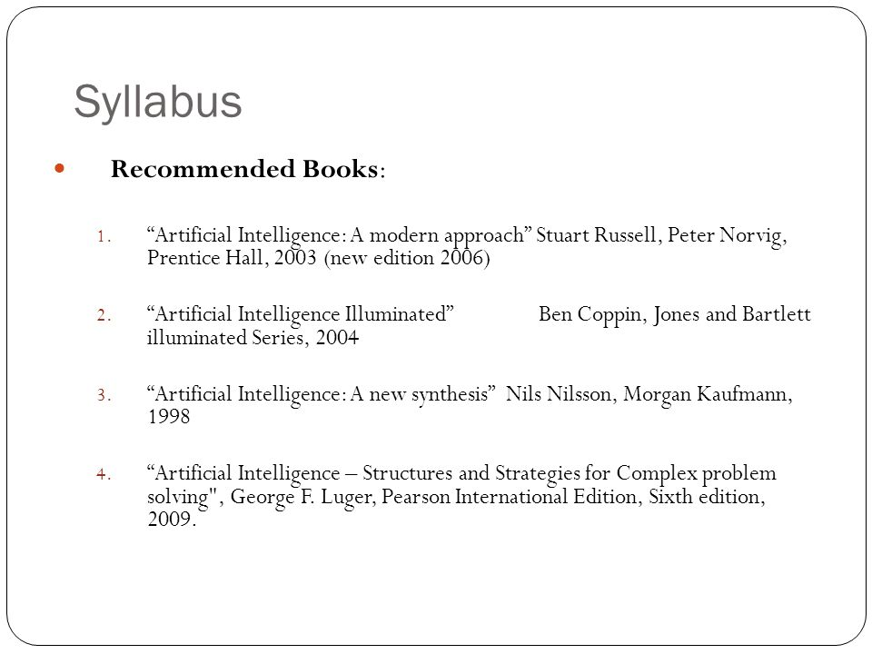 Syllabus Recommended Books: