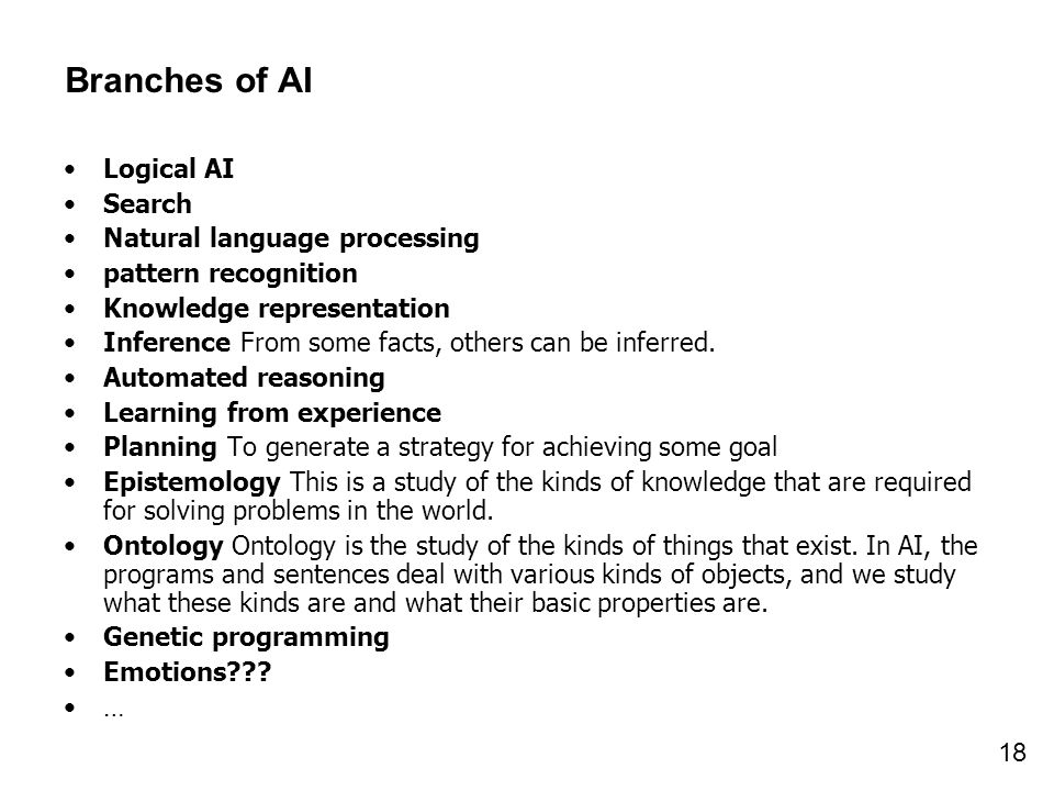 Branches of AI Logical AI Search Natural language processing