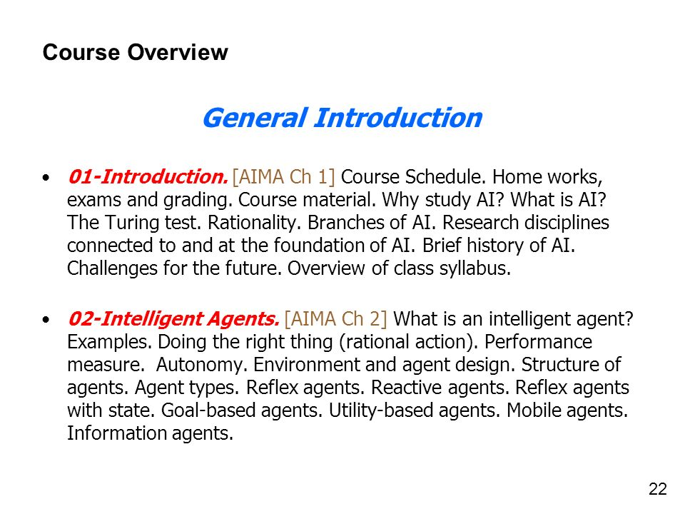 General Introduction Course Overview