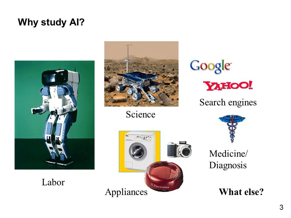 Why study AI Search engines Science Medicine/ Diagnosis Labor Appliances What else