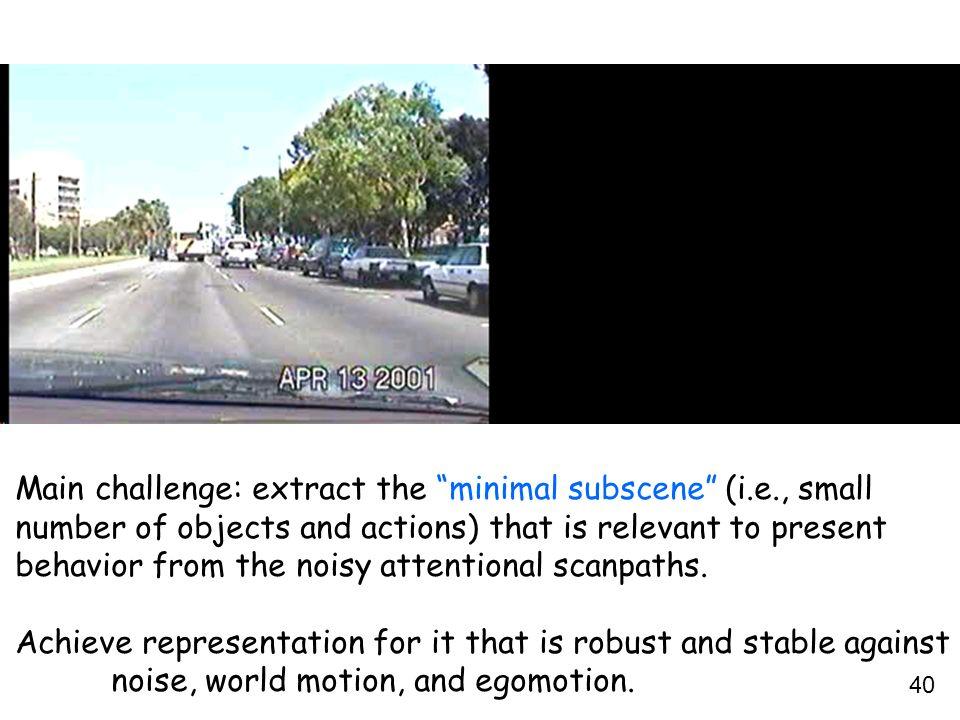 Main challenge: extract the minimal subscene (i.e., small