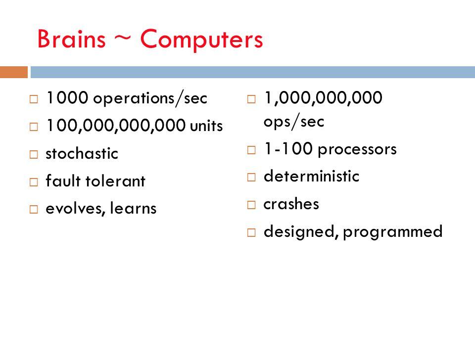 Brains ~ Computers 1000 operations/sec 100,000,000,000 units