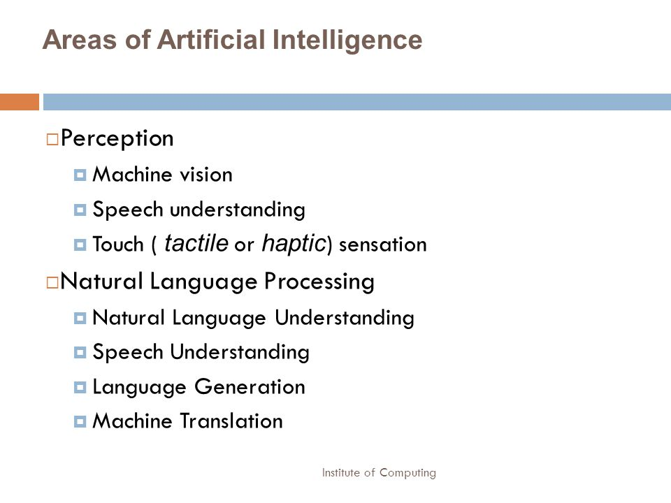 Areas of Artificial Intelligence