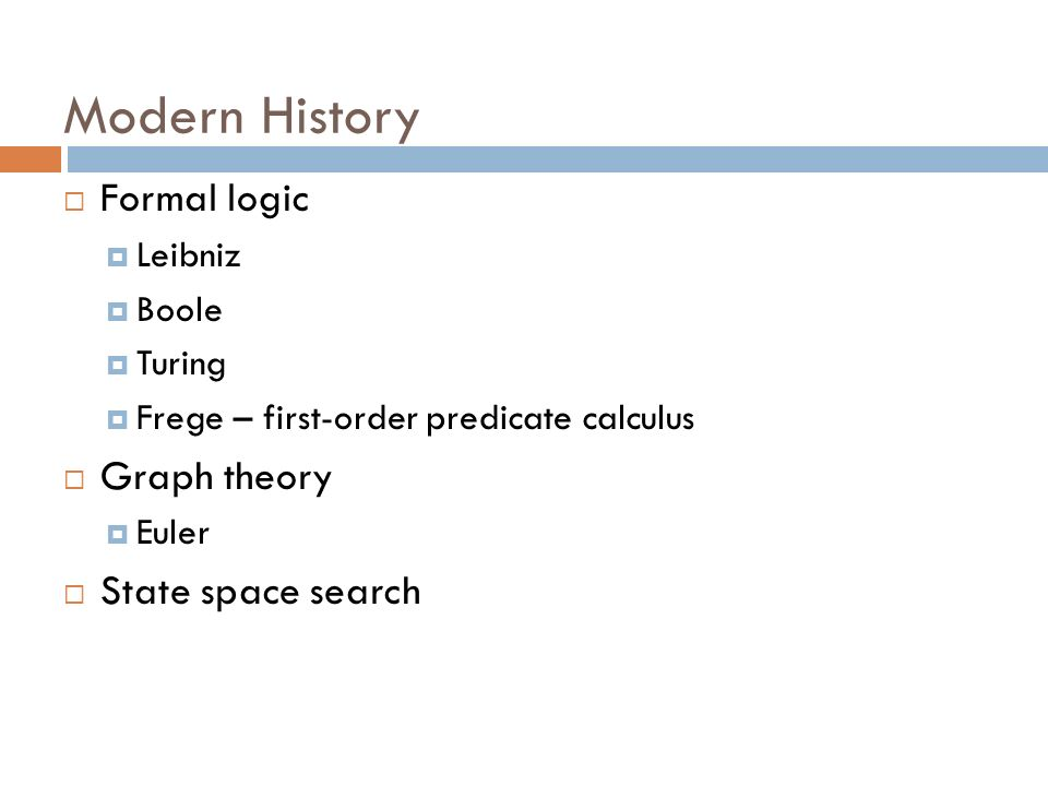 Modern History Formal logic Graph theory State space search Leibniz
