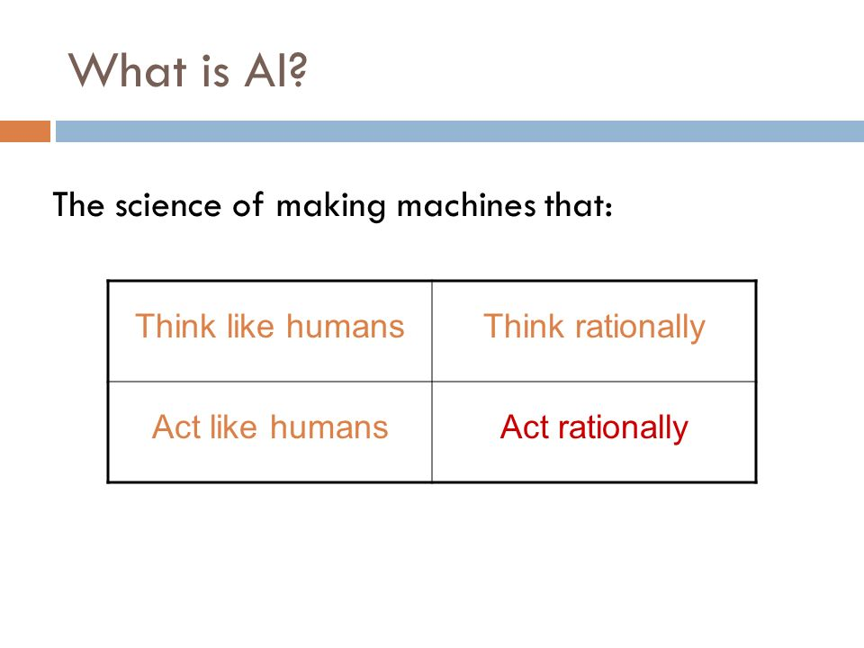 What is AI The science of making machines that: Think like humans