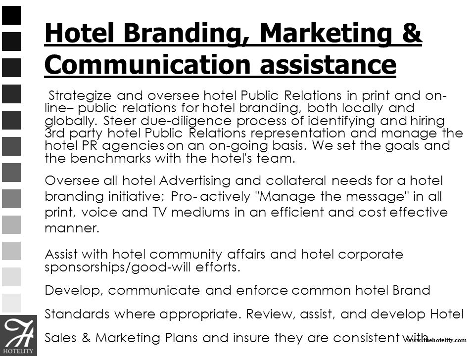 Hotel Branding, Marketing & Communication assistance