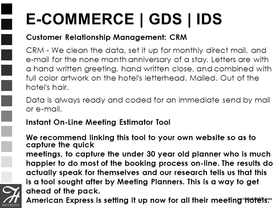 E-COMMERCE | GDS | IDS Customer Relationship Management: CRM