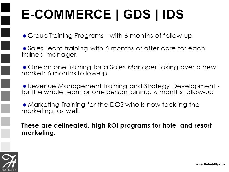 E-COMMERCE | GDS | IDS Group Training Programs - with 6 months of follow-up.