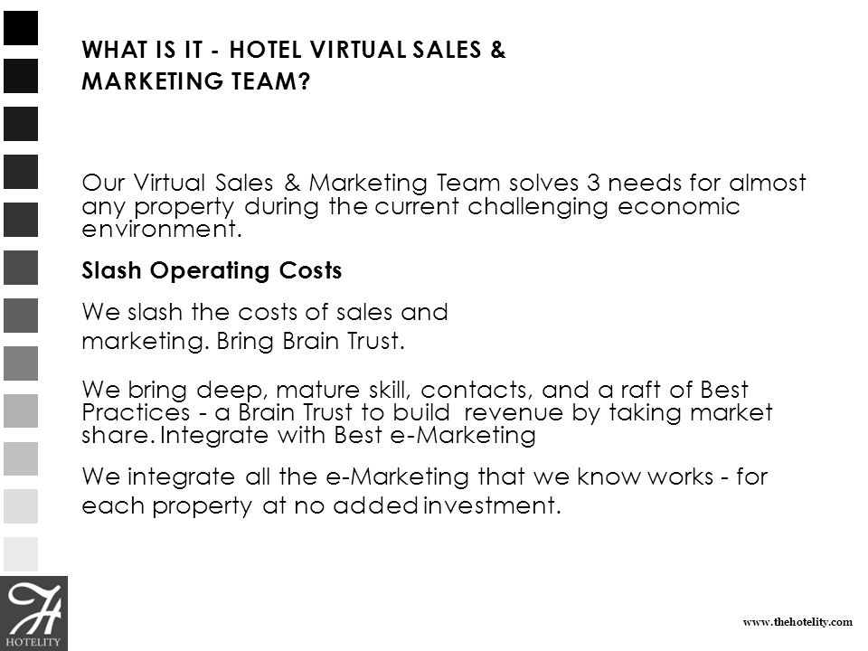 WHAT IS IT - HOTEL VIRTUAL SALES & MARKETING TEAM