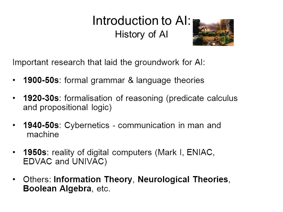 Introduction to AI: History of AI