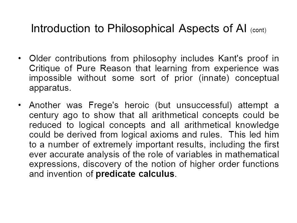 Introduction to Philosophical Aspects of AI (cont)