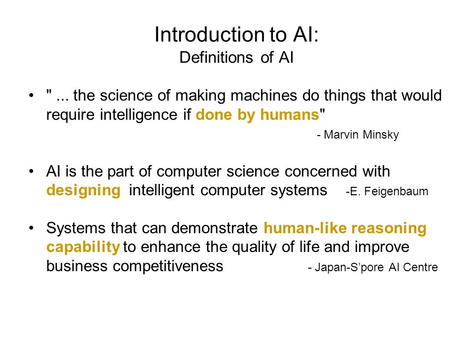 Introduction to AI: Definitions of AI