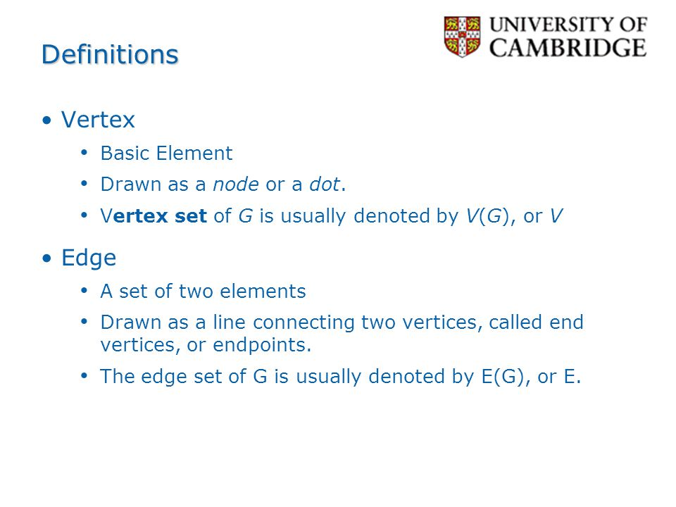 Definitions Vertex Edge Basic Element Drawn as a node or a dot.