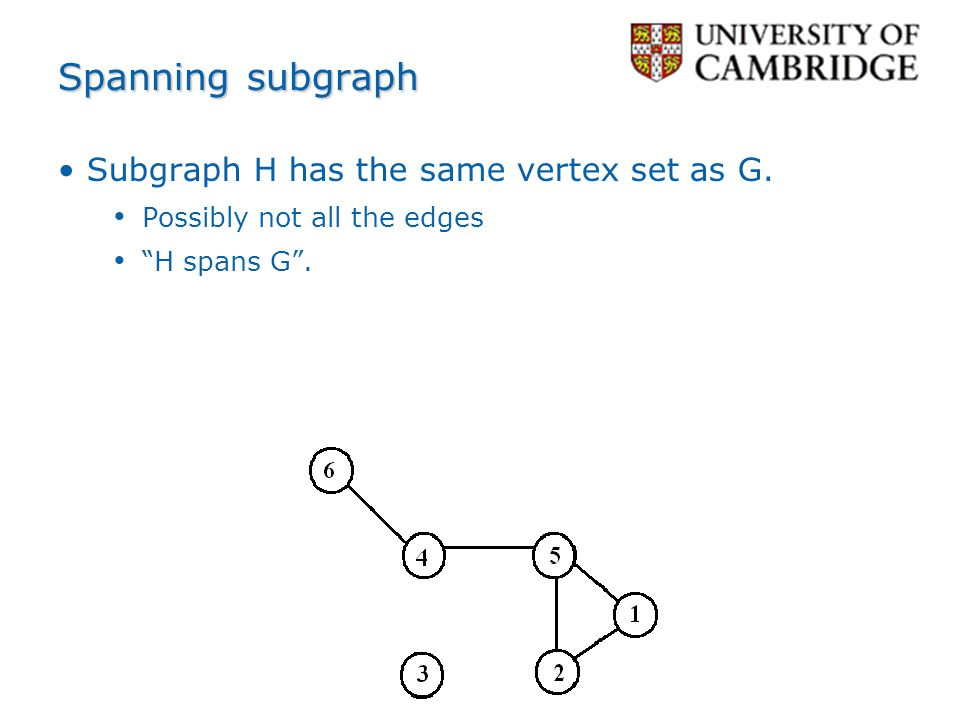Spanning subgraph Subgraph H has the same vertex set as G.
