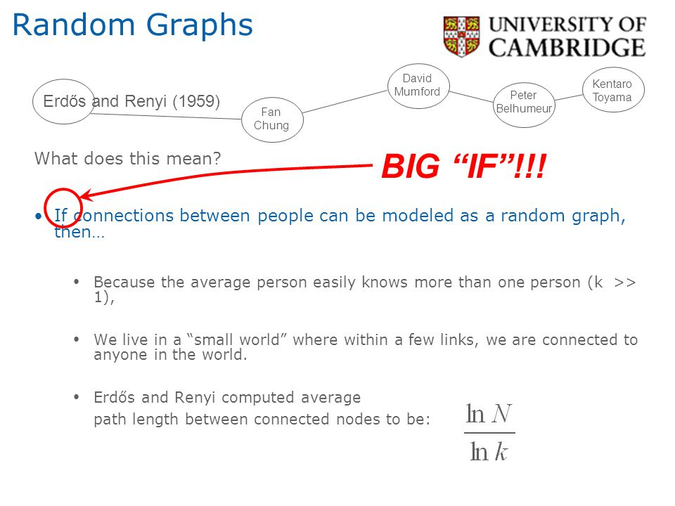 BIG IF !!! Random Graphs Erdős and Renyi (1959) What does this mean
