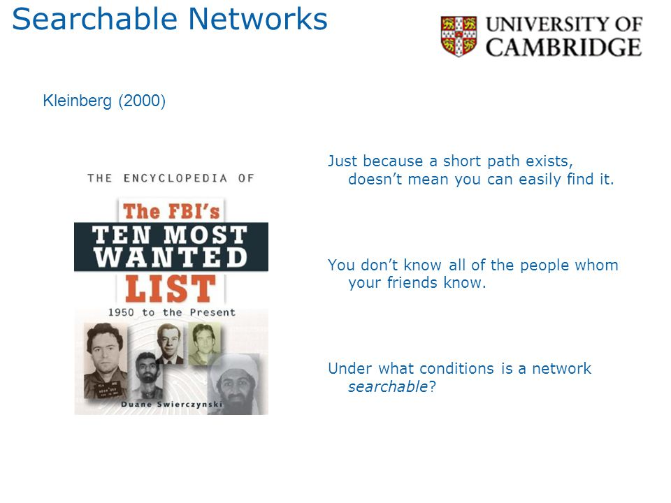 Searchable Networks Kleinberg (2000)