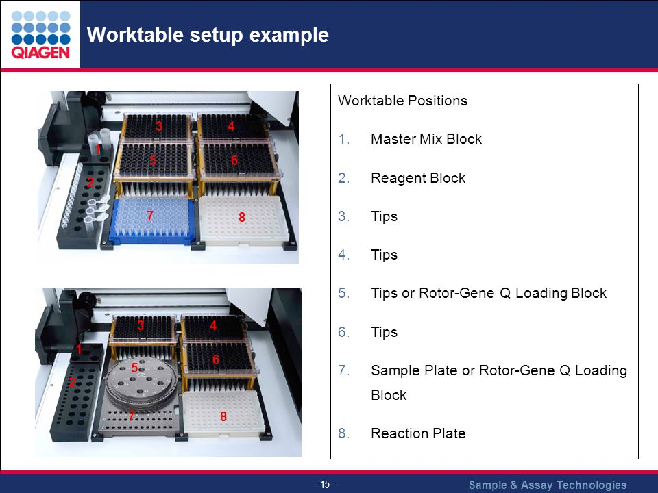 Worktable setup example