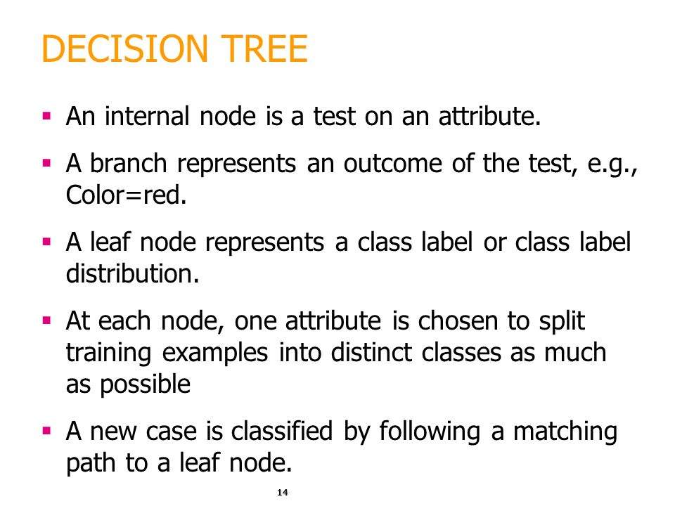 DECISION TREE An internal node is a test on an attribute.