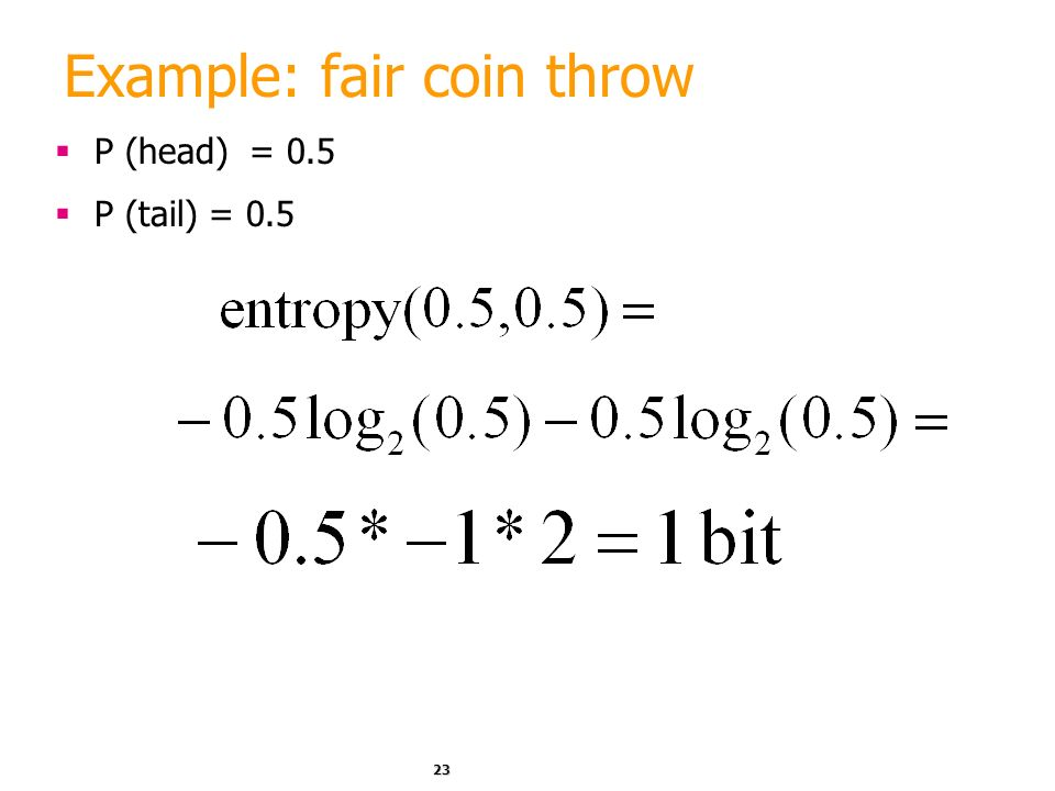 Example: fair coin throw