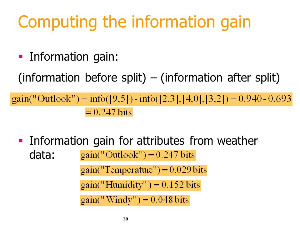 Computing the information gain