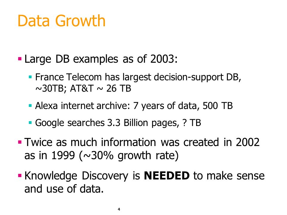 Data Growth Large DB examples as of 2003: