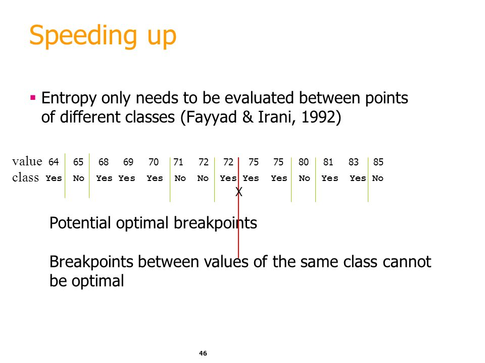 Speeding up Entropy only needs to be evaluated between points of different classes (Fayyad & Irani, 1992)