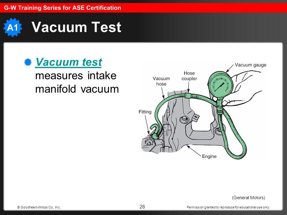 Vacuum Test Vacuum test measures intake manifold vacuum