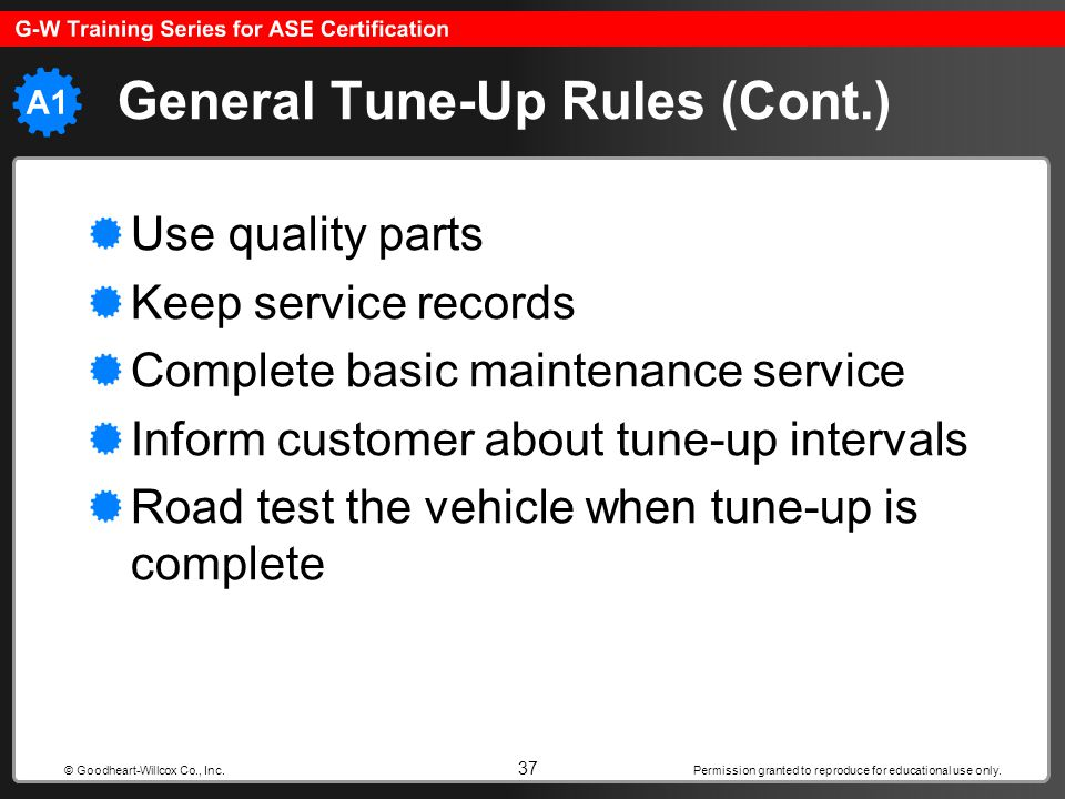 General Tune-Up Rules (Cont.)