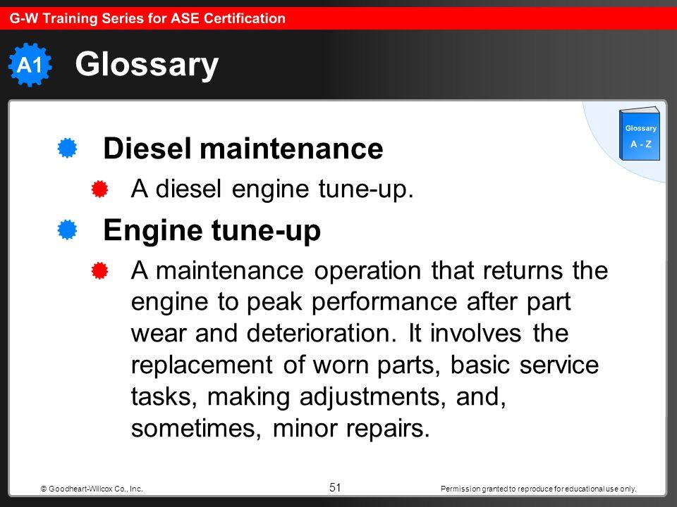 Glossary Diesel maintenance Engine tune-up A diesel engine tune-up.
