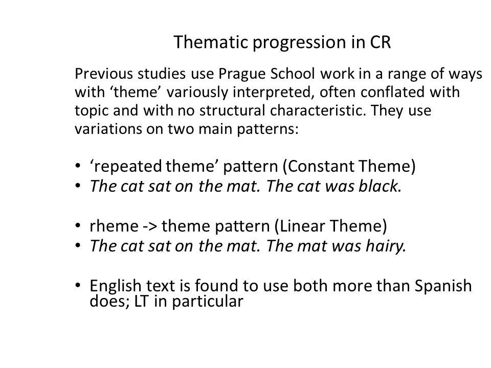 Thematic progression in CR