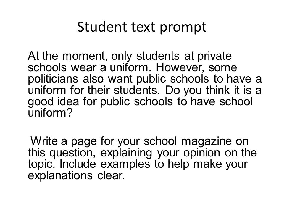 Student text prompt