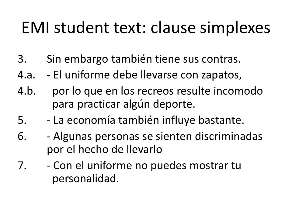 EMI student text: clause simplexes