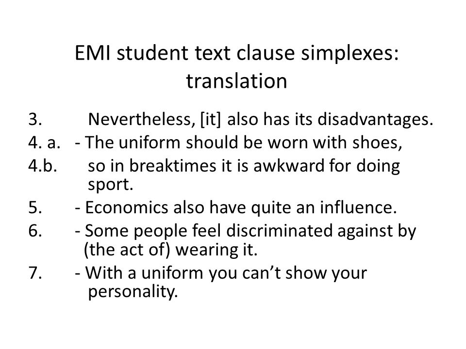EMI student text clause simplexes: translation