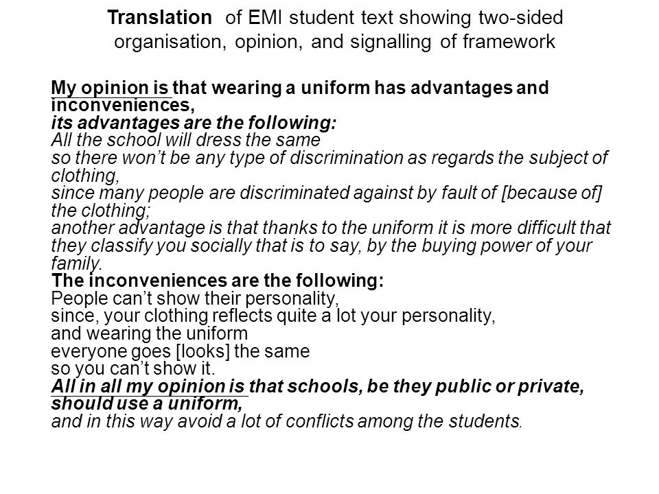 Translation of EMI student text showing two-sided organisation, opinion, and signalling of framework